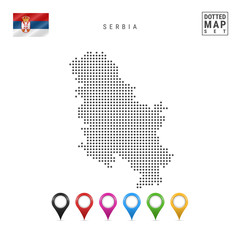 Vector Dotted Map of Serbia. Simple Silhouette of Serbia. The National Flag of Serbia. Set of Multicolored Map Markers
