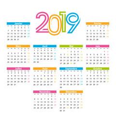 Calendrier 2019 français avec jours fériés