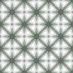 Geomtric pattern of eight-pointrd stars arranged diagonally with gray, grin and white colors. Seamless pattern vector illustration.