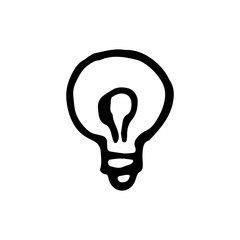 Handdrawn bulb doodle icon. Hand drawn black sketch. Sign symbol. Decoration element. White background. Isolated. Flat design. Vector illustration
