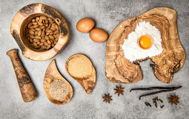 Ingredients spices dough Eggs flour sugar almond vanilla