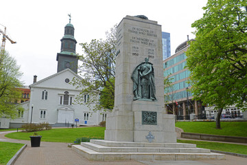 Cenotaph and St Paul`s Anglican Church on Grand Parade Square in downtown Halifax, Nova Scotia, Canada.
