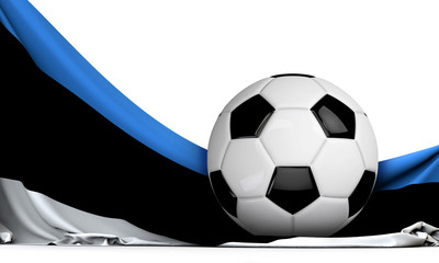 Soccer ball on the flag of Estonia. Football background. 3D Rendering
