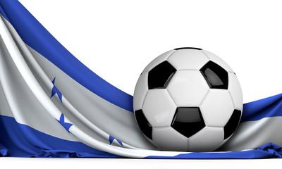 Soccer ball on the flag of Honduras. Football background. 3D Rendering