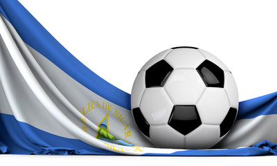 Soccer ball on the flag of Nicaragua. Football background. 3D Rendering