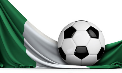 Soccer ball on the flag of Nigeria. Football background. 3D Rendering