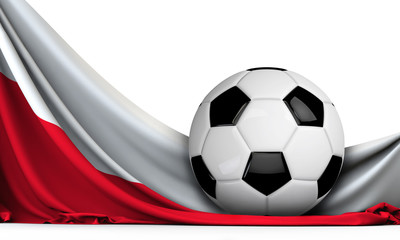Soccer ball on the flag of Poland. Football background. 3D Rendering