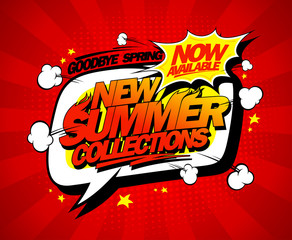 New summer collections now on, speech bubble vector poster design