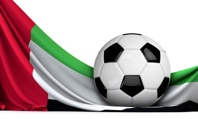 Soccer ball on the flag of United Arab Emirates. Football background. 3D Rendering