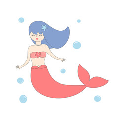 cute cartoon mermaid vector illustration