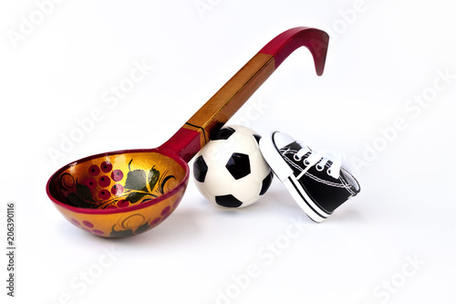 d1140926d Football or soccer ball. Sports shoes