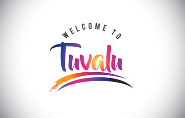 Tuvalu Welcome To Message in Purple Vibrant Modern Colors.