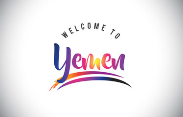 Yemen Welcome To Message in Purple Vibrant Modern Colors.
