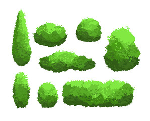 Vector illustration set of garden green bushes and decorative trees. Shrub and bush collection in cartoon style isolated on white background.