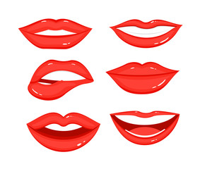 Vector Illustration collection of red lips with white teeth, different positions and emotions of women mouth on white background in flat style.