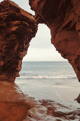 Red rock caves on the northern Prince Edward Island coast