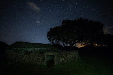 Night landscape with old structure near Montehermoso. Extremadura. Spain.