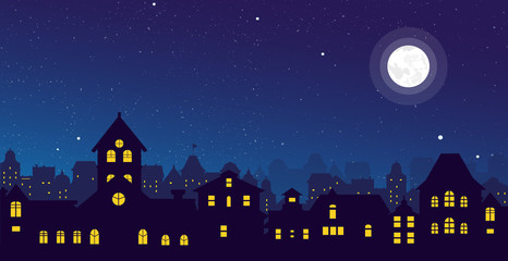 Fototapeta Vector illustration of the night town skyline with a full moon over urban houses rooftops in flat style. obraz