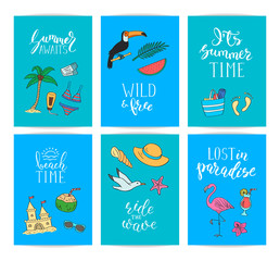 Set of card templates or flyers with lettering and hand drawn colored beach objects. Vector summer travel doodle elements illustration
