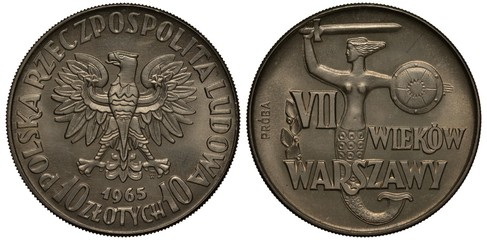 Poland, Polish coin 10 ten zlotych 1965, eagle, denomination below, 700th Anniversary of polish capital Warsaw, mermaid with sword and round shield, trial issue, proba, essai,