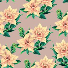 Seamless pattern of tulips. Tulips in Botanical watercolor illustration.