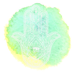 Hand drawn Ornate amulet Hamsa Hand of Fatima. Ethnic amulet common in Indian, Arabic and Jewish cultures. watercolor