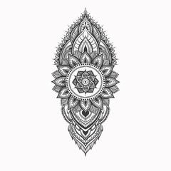 Beautiful mehndi pattern with curls and mandala