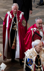 The Prince of Wales, Great Master of the Honourable Order of the Bath, attends the Service of Installation of Knights Grand Cross of the Order at Westminster Abbey in central London