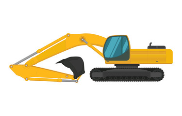 Yellow excavator. Isolated on white background.