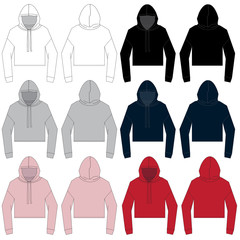 Vector template for Women's Cropped style Hoodies