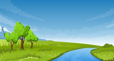 Photo sur Aluminium Bleu jean Summer landscape. Vector illustration