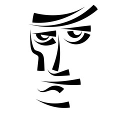 Sketch abstract male face. Black and white print