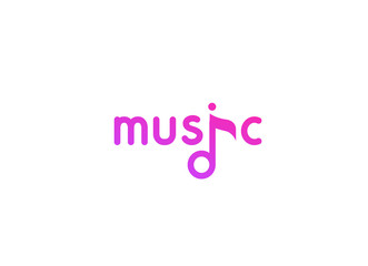 Vector violet logo in flat style for music project, studio, web site, radio