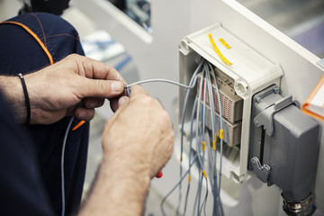 electrician connecting wires
