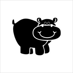 Funny hippo icon. Vector Illustration on white background