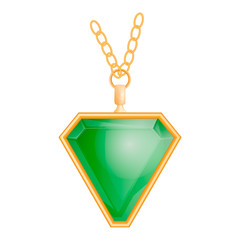 Emerald jewelry mockup. Realistic illustration of emerald jewelry vector mockup for web design isolated on white background