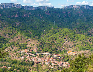 View of the mountain landscape in Tarragona, Spain. Copy space for text.