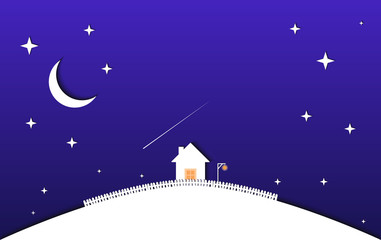 House and night sky with stars and moon. vector illustration