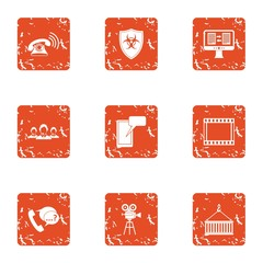 Inform icons set. Grunge set of 9 inform vector icons for web isolated on white background