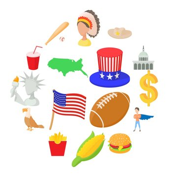 Usa icons set in cartoon style isolated on white background