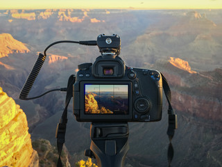 Camera in use at Grand Canyon Sunrise