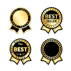 Ribbon awards best seller set. Gold ribbon award icons isolated white background. Bestseller golden tags sale label, badge, medal, guarantee quality product, certificate.. Vector illustration