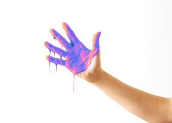 Hands with Neon Paint