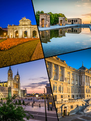 Collage of tourist photos of the Madrid
