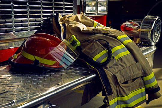 Firefighter protection clothes and fire truck