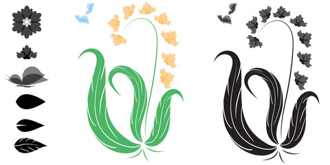A set of art brushes on a natural theme
