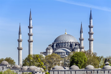 Istanbul, Turkey, 22 April 2006: Suleymaniye Mosque is an Ottoman mosque in the Eminonu district of Istanbul.