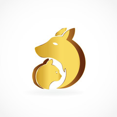 Logo dog and cat gold vector