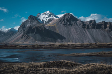 Snow valley with mountains in Iceland
