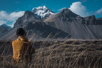 Woman posing on picturesque landscape